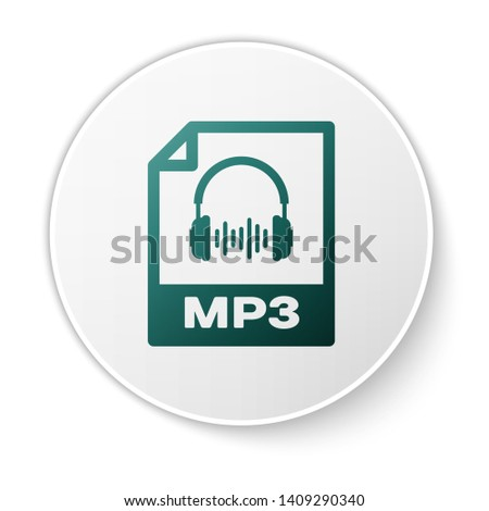 Green MP3 file document icon. Download mp3 button icon isolated on white background. Mp3 music format sign. MP3 file symbol. White circle button. Vector Illustration