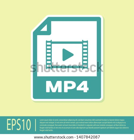 Green MP4 file document icon. Download mp4 button icon isolated on yellow background. MP4 file symbol. Vector Illustration