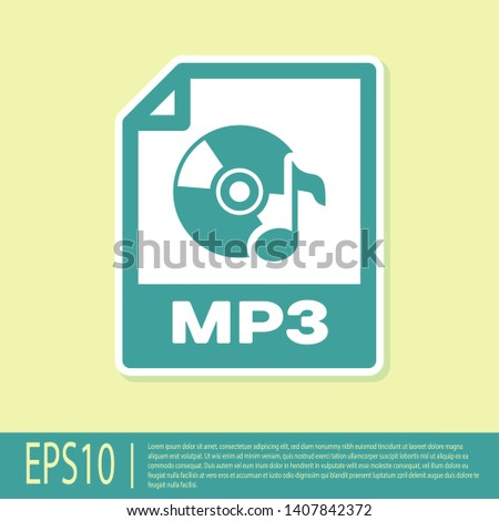 Green MP3 file document icon. Download mp3 button icon isolated on yellow background. Mp3 music format sign. MP3 file symbol. Vector Illustration