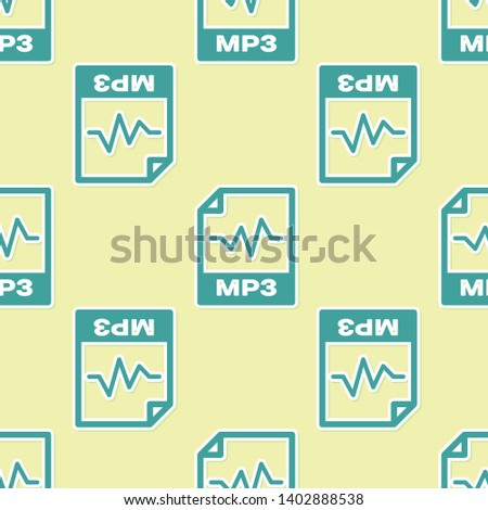 Green MP3 file document icon. Download mp3 button icon isolated seamless pattern on yellow background. Mp3 music format sign. MP3 file symbol. Vector Illustration