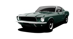 Green muscle car in vector.
