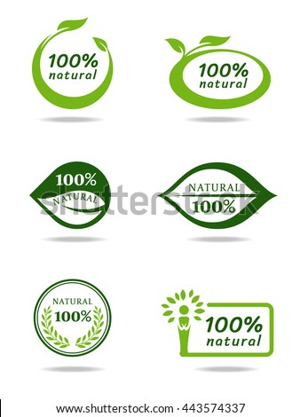 Green natural leaf banner sign vector set design