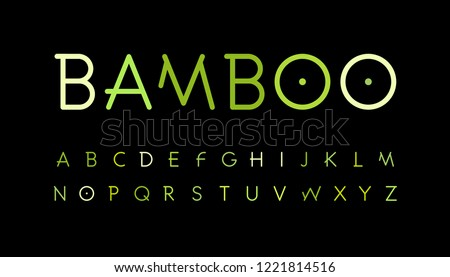 Green nature alphabet. Bamboo branch style typeset. Tropical forest font. Asian nature, set of slab letters. Thin Vector symbols.