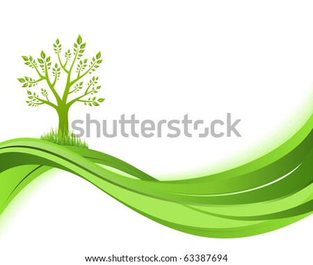 Green nature background Eco concept illustration Abstract green vector illustration with copyspace.