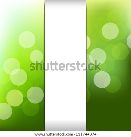 Green Nature Background With Bokeh, Vector Illustration