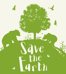 Green nature background with two bears, tree and birds. Ecology concept. Save the Earth lettering.