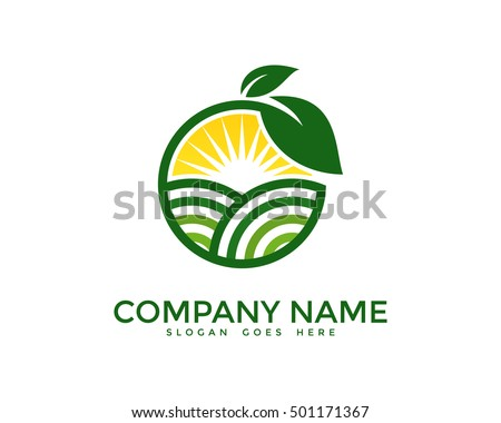 Green Nature Farm Logo Design Template