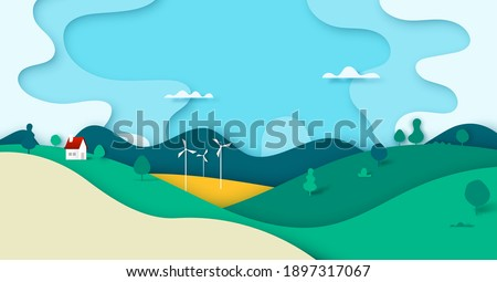 Green nature forest landscape scenery with house in countryside banner background paper art style.Vector illustration.