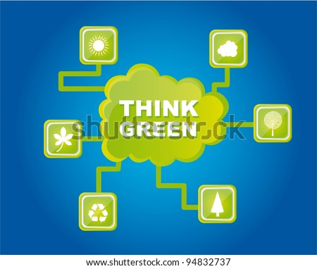 green nature icons with cloud, think green. vector illustration