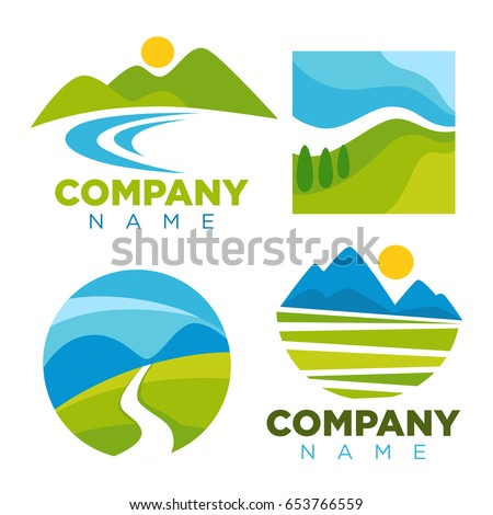 Green nature landscape templates for company vector icons