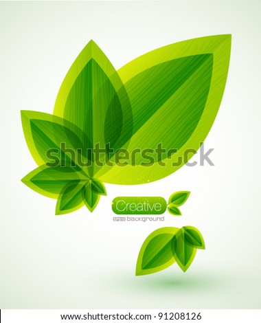 Green nature leaves vector background
