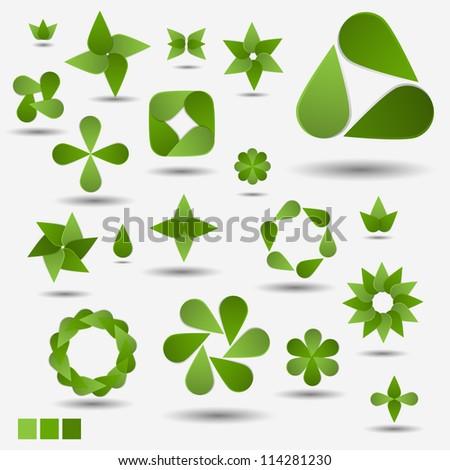 Green nature modern abstract vector symbol set