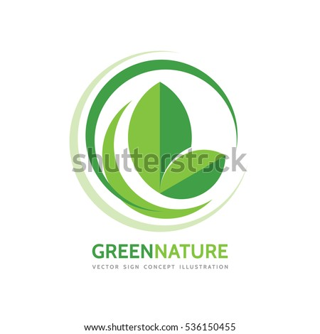 Green nature - vector business logo template concept illustration. Leaves and design elements. Organic product.