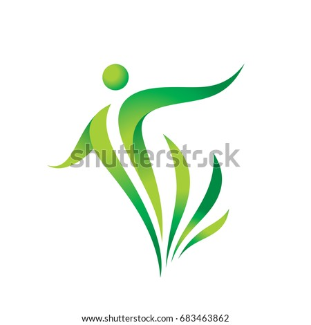 Green nature vector logo template. Health sign. Fitness woman concept illustration. Human character with leaves. Freedom icon. Design element.