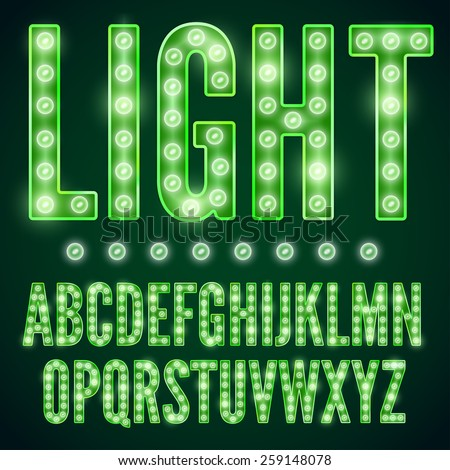 green neon alphabet font with