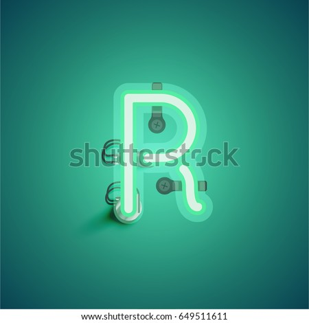 stock-vector-green-neon-character-from-a-font-set-on-green-background-vector-illustration