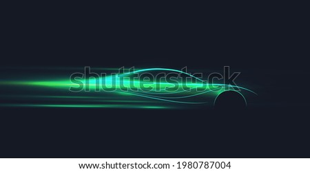 Green neon glowing in the dark electric car on high speed running concept. Fast ev silhouette. Vector illustration