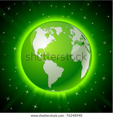 Green neon high-detailed earth ball. Vector.
