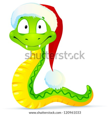 Green New Year snake in red Santa hat
