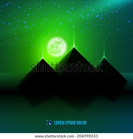 Green night  egypt  desert  fantasy landscape background  illustration with moon, pyramids and stars