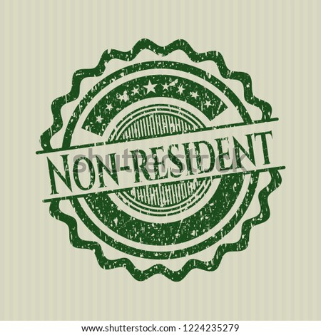 Green Non-resident distressed rubber stamp with grunge texture