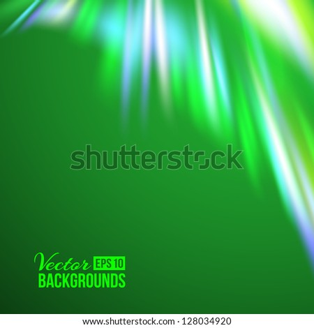 Green northern lights. Vector illustration, eps 10, contains transparencies.