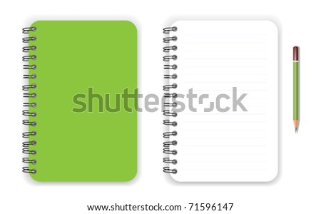 Green notebook and pencil