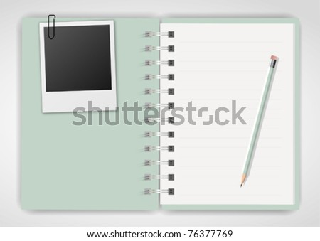 Green notebook pencil and instant photo - stock vector