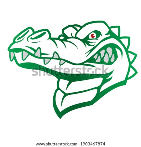 Green Nuanced  Crocodile Head Vector Illustration. Alligator Head Silhouette Isolated On White Background. Alligator Head Logo Template