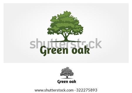 Green Oak Vector Logo Template. Green Oak Silhouette of a tree, Vector logo illustration.  ストックフォト ©