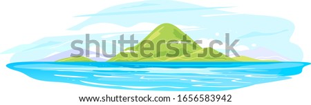 Green ocean island group isolated illustration, travel vacation exotic trip in summer time, landscape from the tropical island in the ocean