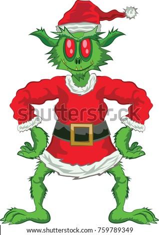 green ogre in christmas full