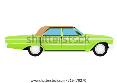 green old car isolated on