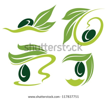 green olive and oil , vector collection of signs, symbols and icons