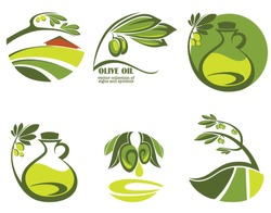 green olive, oil and landscapes, vector collection of signs and symbols