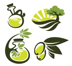 green olive, oil and landscapes, vector collection of signs, symbols and icons