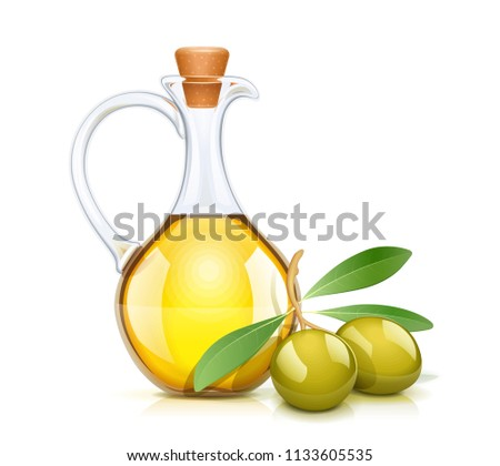 Green olive oil bottle with cork. Glass jug for liquid ingredient. Oils capacity. Product for cooking. Isolated white background. EPS10 vector illustration.