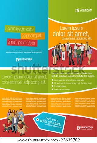 Green, orange and red template for advertising brochure with business people
