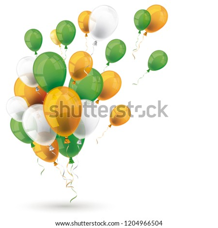 Green orange balloons on the white background. Eps 10 vector file.
