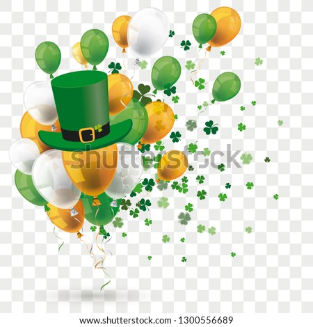 Green orange balloons with shamrocks and green hat on the transparent background. Eps 10 vector file.