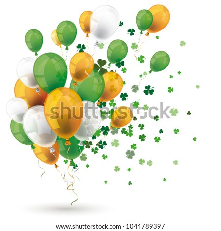 Green orange balloons with shamrocks on the white background. Eps 10 vector file.