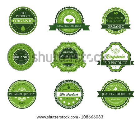 Green organic and bio labels set for design. Jpeg version also available in gallery