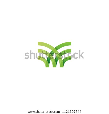 Green Organic Farm logo concept. Abstract linear logotype template. Vector illustration eps10.