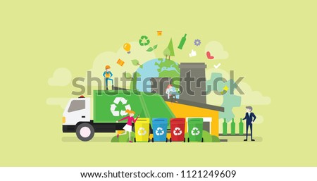 Green Organic Garbage Waste Recycle Process Tiny People Character Concept Vector Illustration, Suitable For Wallpaper, Banner, Background, Card, Book Illustration, And Web Landing Page