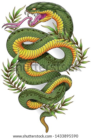 green oriental snake with