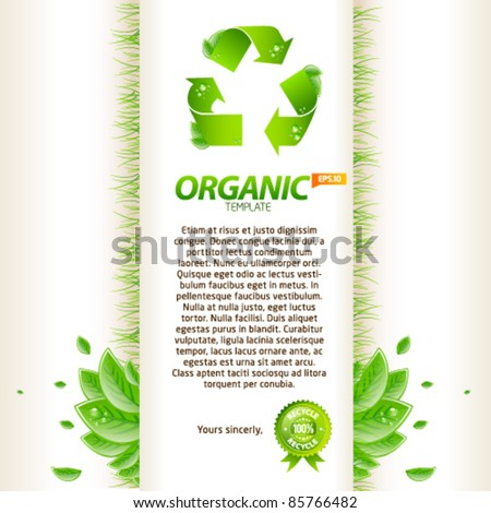Green origami template with recycle sign and leafs