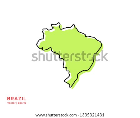Green Outline Map of Brazil Vector Design Template. Editable Stroke