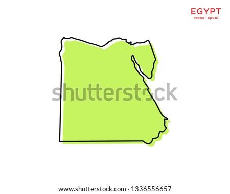 Green Outline Map of Egypt Vector Design Template. Editable Stroke