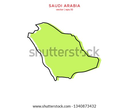 Green Outline Map of Saudi Arabia Vector Design Template. Editable Stroke