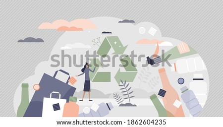 Green packaging as household plastic items and paper recycling tiny person concept. Sustainable choice for less pollution and clean nature vector illustration. Self degrading empty bottles for reusage